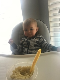 Calvin with his breakfast pasta.